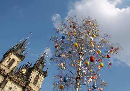 Prague Easter, a birch emblazoned with balls and streamers