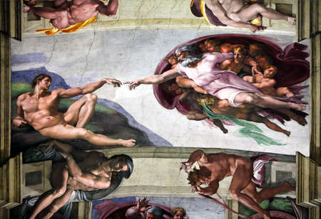 Italy,  Rome - September 2012 : Fresco Creation of Adam by Michelangelo in Sistine Chapel