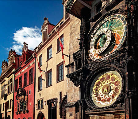 prague: Old astronomical clock in Old Town Square at Prague