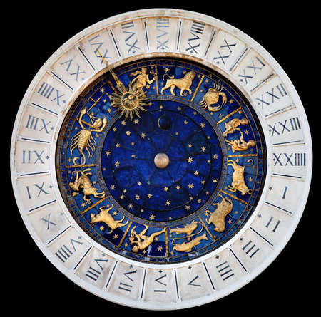 Zodiac clock at San Marco square in Venice Stock Photo