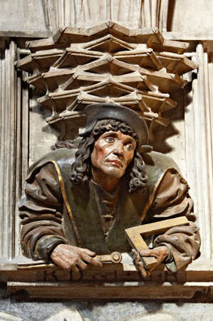 The gothic portrait of architect in Stephansdom, Vienna Stock Photo