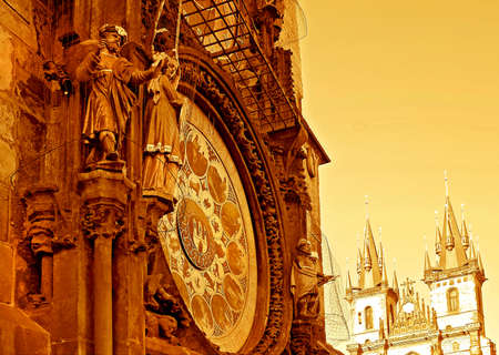 Astronomical clock and the Tyn cathedral, Prague