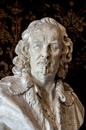 musketeer: The historic interior detail, bust of the musketeer Stock Photo