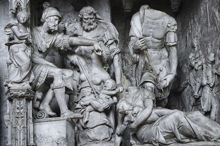 chartres: Massacre of the Innocents, the gothic sculpture in Chartres cathedral Stock Photo