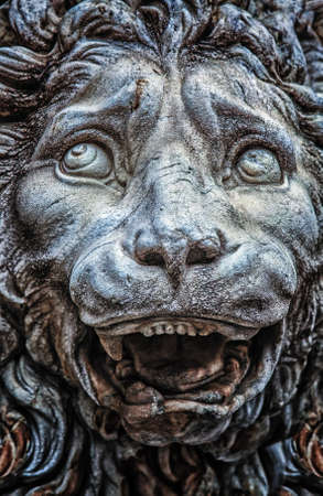 Medieval lion statue detail from Florence in Italy