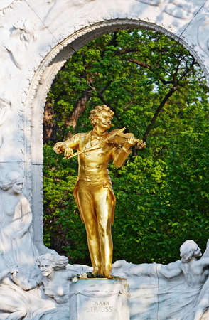 Historic statue of Johann Strauss  in Vienna Stock Photo