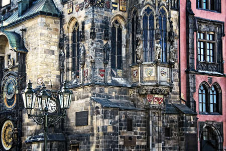 The detail of gothic town hall in Prague Stock Photo