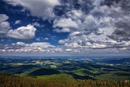 Sumava panorama from the Boubin hill in Czech republic Stock Photo