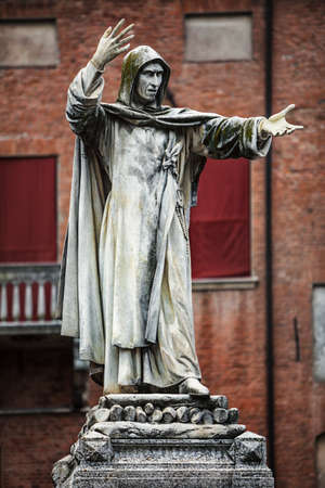 Statue of Girolamo Savonarola in Ferrara, Emilia-Romagna in Italy Stock Photo