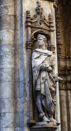 Statue of St. Victor from the Renaissance period in the street of Siena, Italy.