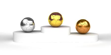 Soccer gold podium awards isolated on white photo