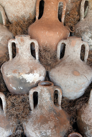 Ancient ceramic amphorae, archaeological artifacts at Bodrum, Turkey photo