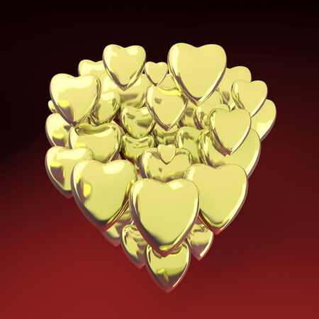 gold heart: 3d Gold heart shaped valentines day symbol