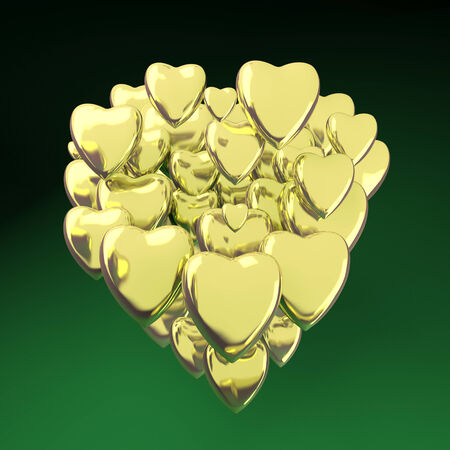 gold heart: Gold heart shaped valentines day symbol  isolated on green