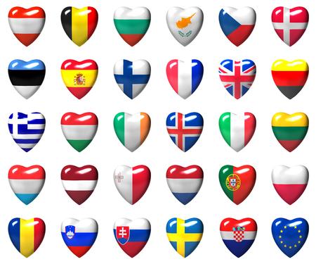 흰색 격리 된 3D 마음에 래핑 된 유럽 연합 국가 플래그 스톡 콘텐츠