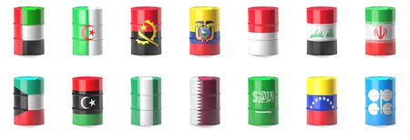 opec: Organization Of The Petroleum Exporting Countries flags  wrapped in 3d oil barrel