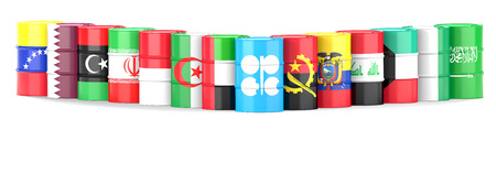 republic of ecuador: Organization Of The Petroleum Exporting Countries flags  wrapped in 3d oil barrel standing in a row