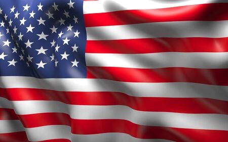 National Flag of the USA waving in the wind