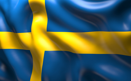 scandinavian peninsula: National Flag of the Sweden - a country that occupies the eastern part of the Scandinavian peninsula Stock Photo