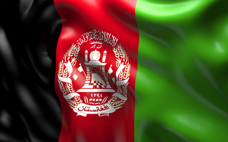 landlocked: National Flag of the Afghanistan - a mountainous landlocked republic in central Asia Stock Photo