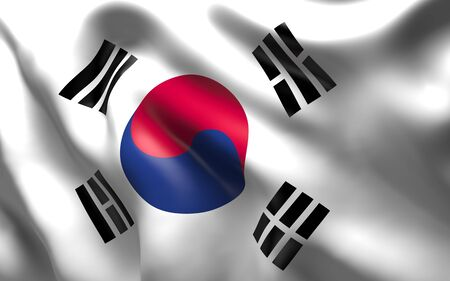 occupying: National Flag of the South Korea a country in East Asia, occupying the southern part of the peninsula of Korea  waving in the wind
