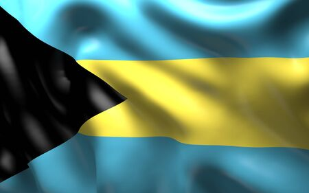 creole: National Flag of the Bahamas waving in the wind Stock Photo