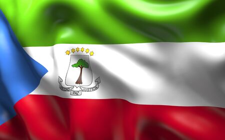 equatorial guinea: National Flag of the Equatorial Guinea waving in the wind Stock Photo