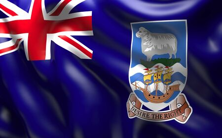 falkland: National Flag of the Falkland Islands waving in the wind