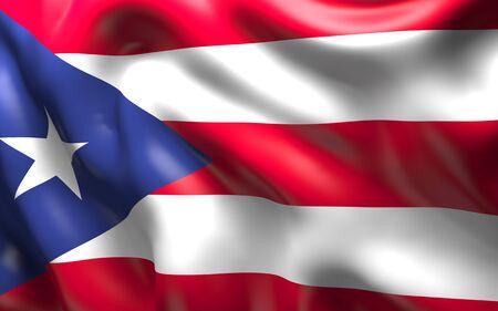 bandera de puerto rico: Bandera nacional de la Puerto Rico ondeando en el viento Foto de archivo