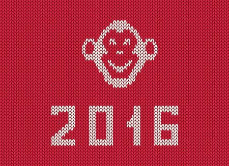 scandinavian: Scandinavian style new 2016 year greeting  knitted pattern with monkey