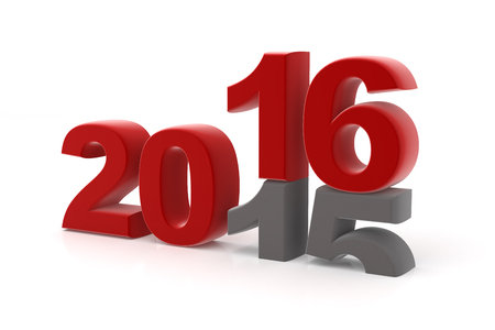 replaced: 2015 is replaced by a new 2016 isolated on white render Stock Photo