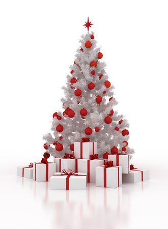 festively: festively decorated white Christmas tree with gift boxes on a white background