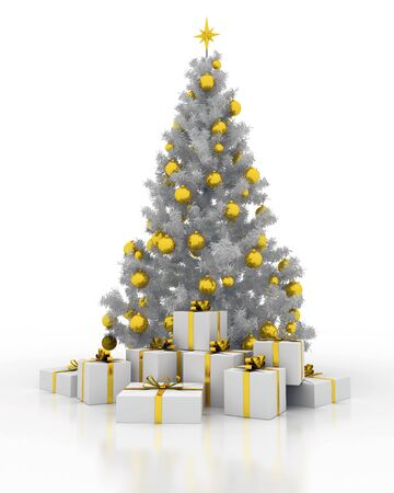 festively: festively decorated Christmas tree with gift boxes on a white background