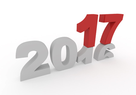 replaced: 2016 is replaced by a new 2017 isolated on white 3d  illustration
