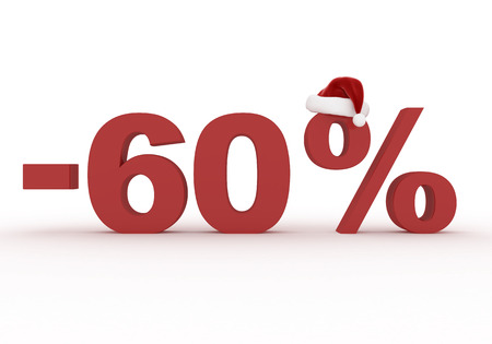 60 Percent discount sign as a symbol of Christmas sales in the hat of Santa Claus 3d render