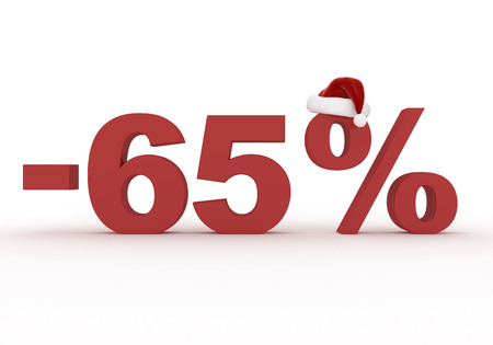 65 Percent discount sign as a symbol of Christmas sales in the hat of Santa Claus 3d render