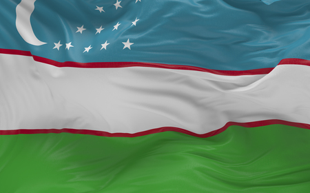 바람에 물결 치는 우즈베키스탄의 국기 3d 렌더링