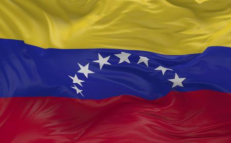 바람에 물결 치는 볼리바르의 공화국 베네수엘라의 국기 3d 렌더링 스톡 콘텐츠