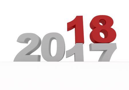 2017 흰색으로 격리 된 새로운 2018 대체됩니다 3d 렌더링 그림 스톡 콘텐츠