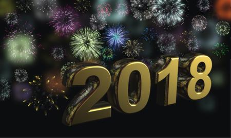 밝은 축제 불꽃에 대 한 어두운 밤하늘에 새 해를 상징하는 황금 인물 2018 활공 스톡 콘텐츠