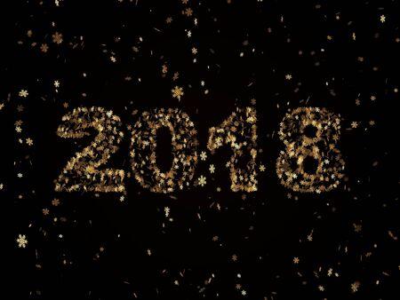 검은 색 바탕에 떨어지는 골든 눈송이는 새해를 상징하는 번호 2018을 형성합니다. 스톡 콘텐츠