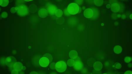 중간에 텍스트에 대 한 빈 공간을 가진 bokeh와 녹색 입자 배경
