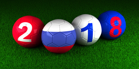 Soccernb2018 balls with the flag of Russia and the numbers on the green grass