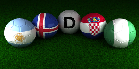 balls with the flag of Group D Argentina Iceland Croatia Nigeria on the green grass of stadium