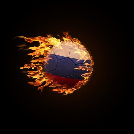 A soccer ball with the flag of Russia burning with fire flies on a black background 3d render 스톡 콘텐츠