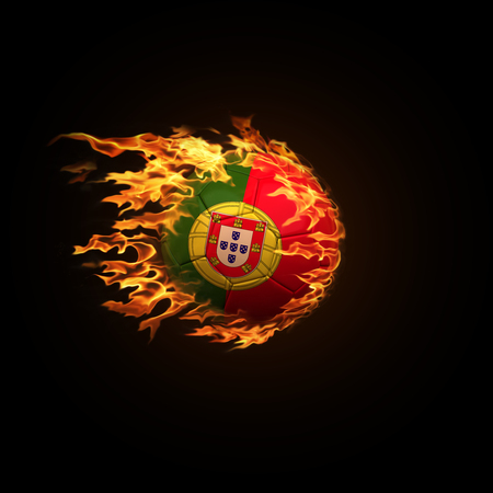A soccer ball with the flag of Portugal burning with fire flies on a black background 3d render