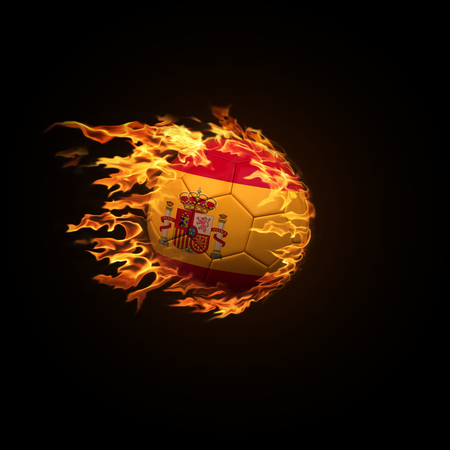 A soccer ball with the flag of Spain burning with fire flies on a black background 3d render