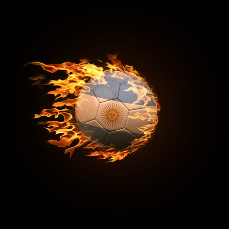 A soccer ball with the flag of Argentina burning with fire flies on a black background 3d render