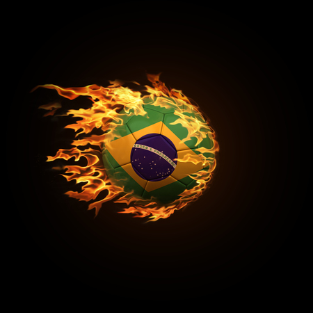 A soccer ball with the flag of Brazil burning with fire flies on a black background 3d render