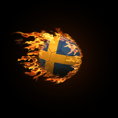 A soccer ball with the flag of Sweden burning with fire flies on a black background 3d render